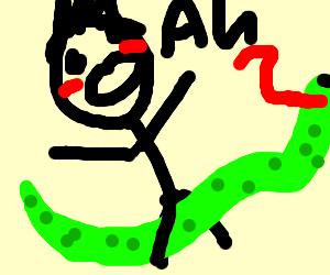 screaming man rides on snake