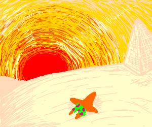 Orange patrick in scorching desert