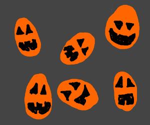 A dozen of pumpkin eggs