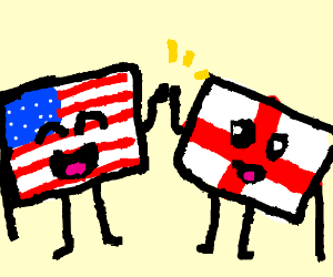 American flag and English flag become friends