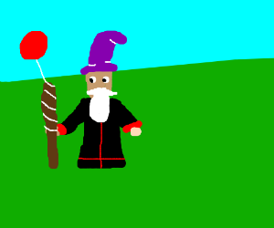 A Wizard holding a stick with a ballon x3