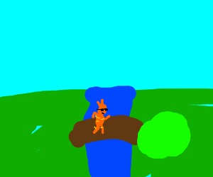 Cool garfield crossing a tree over a river