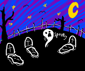A ghost in a graveyard at night