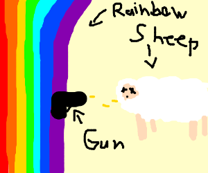 Sheep is Shot by Rainbow