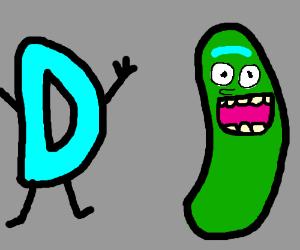 Drawception D talking to pickle RIIIICK