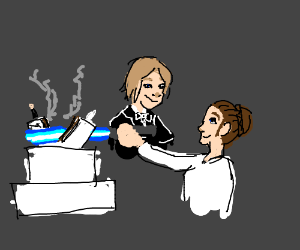Han and Leia cut wedding cake with lightsaber