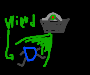 Ufo attacking a weird looking d with green ray