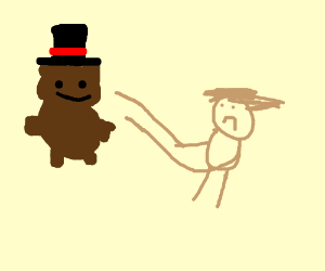 depressed child finds teddy bear with tophat