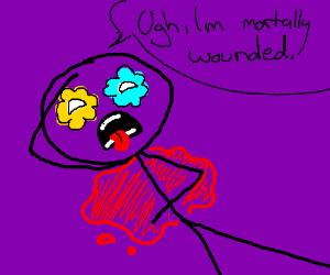 personj withy flower 4 eye is bleeding