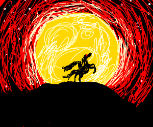 Demon horse and rider in front of full moon