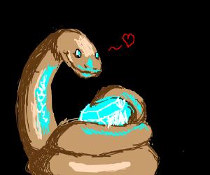 Cute brown Danger Noodle loves his diamond :3
