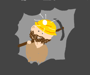He may be a miner character but he's happy.