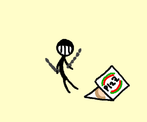 Prisoner but he is happy because he has pizZa