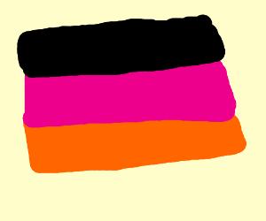 German flag but its black, orange, and pink.