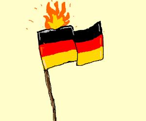 German flag on fire