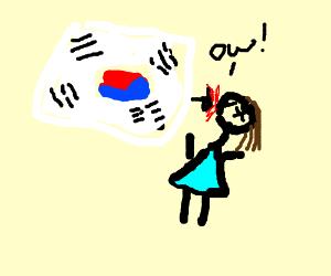 A korean girl beats up a girl