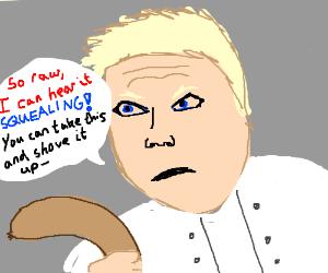 Chef Gordon with pork sausage