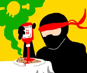 Ninja puts death sauce on meal.