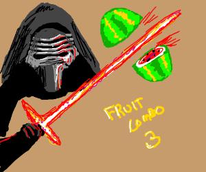 Kylo Ren Playing Fruit Ninja With Lightsaber