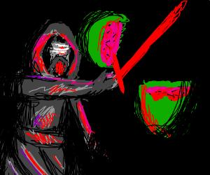 Kylo Ren slicing a watermelon