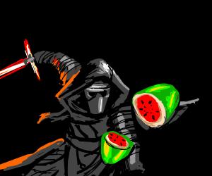 Kylo ren plays fruit ninja
