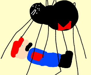 hAHA sleepn Mario doesn realize spider on him