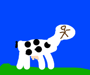 Cow with a stickman face