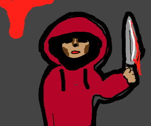 Red hooded scary man with knife