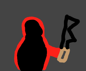 creepy person in a red hoodie with a knife.