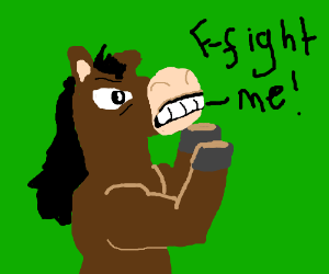 angry horse wants to fight