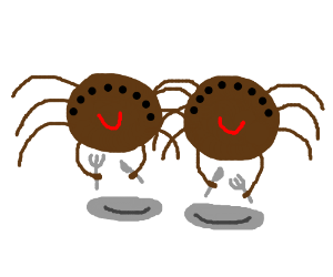 Two brown spiders awaiting dinner