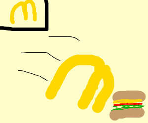 mcdonalds golden arches fall on a burger