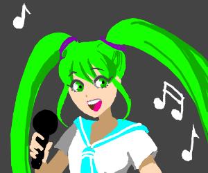 green haired girl sings