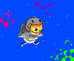 that darn alien duck from duck life space - Drawception