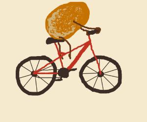 Pringles riding  bike.