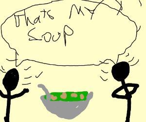 two people arguing over soup