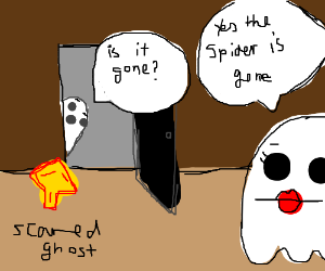 Scared ghost is poking its head around corner