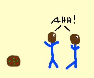2 black men running from a fruit cake