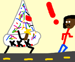 KKK Wizard cake chasing a man down the street