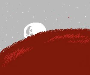 Moonrise  over pink prairie planet