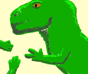 T Rex plays rock paper scissors