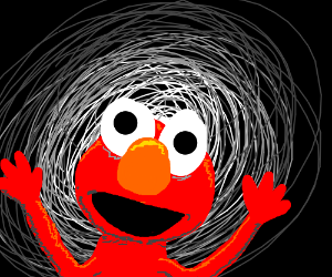 awesome drawing of a creepy elmo in the dark