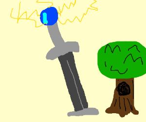 lightning strikes a sword bigger than a tree