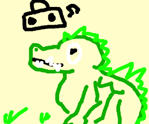 crocodile with a boombox