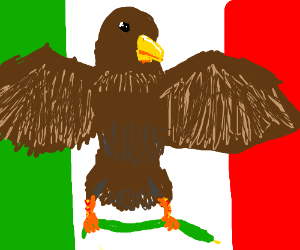 Italy's flag with a eagle holding snake on it