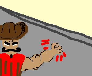 Mexican Titan about to crash through USA wall!