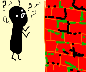man is confused by disiintigrating blocks