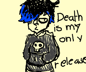A emo kid with blue hair and skull shirt