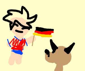man waves german flag at german sheperd