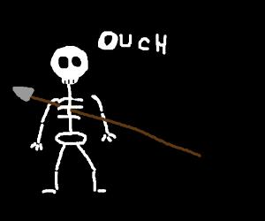 Skeleton gets stabbed